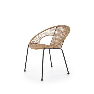 BARI fotel rattanowy naturalny / czarny (1p1szt)