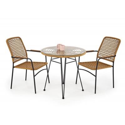 FALCON stół naturalny-czarny