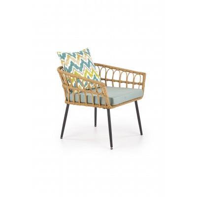 GARDENA 1S fotel czarny / naturalny / popielaty (1p2szt)