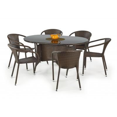 MASTER stół ogrodowy, kolor: szkło - czarny, ratan - c.brąz (2p1szt)