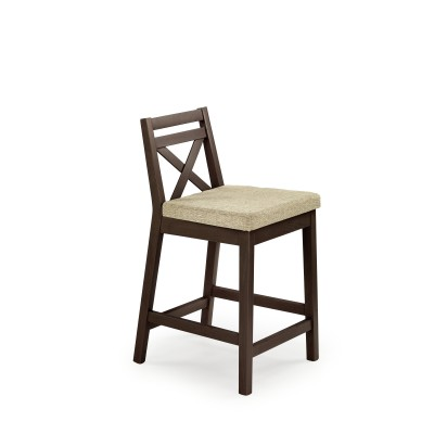 BORYS LOW krzesło barowe niskie ciemny orzech / tap. Vila 2 (1p1szt)