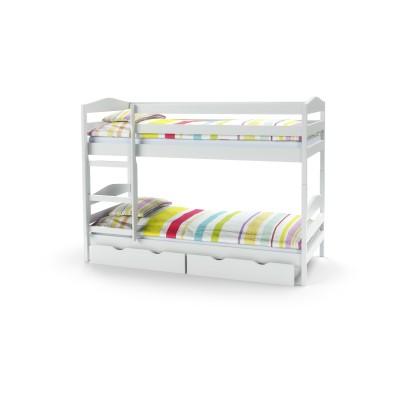 SAM - łóżko piętrowe z materacami - białe (5p1szt)